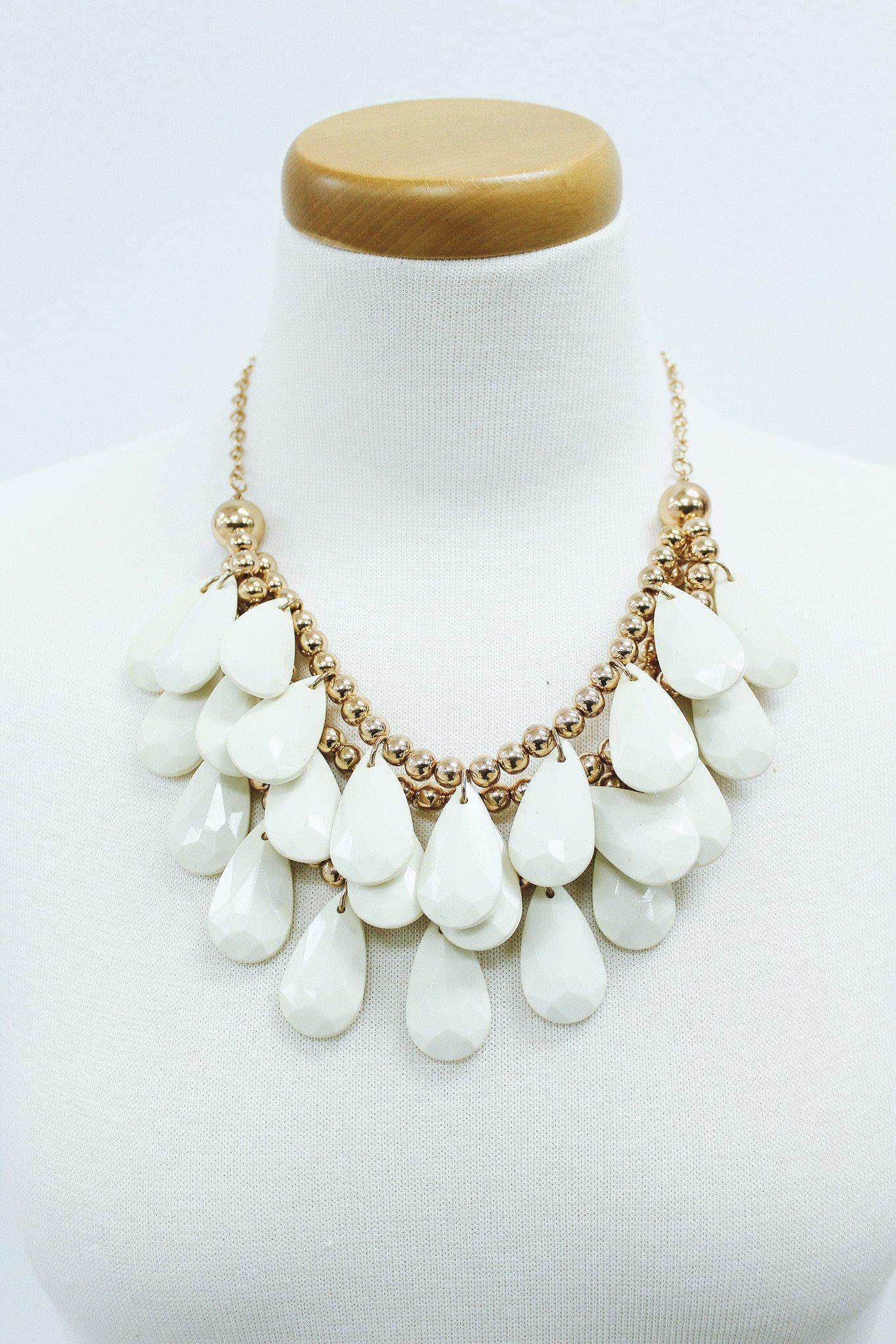 ivory and gold layered teardrop beads necklace