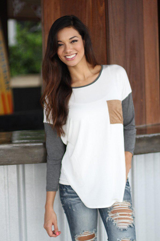 Ivory And Gray Top With Pocket