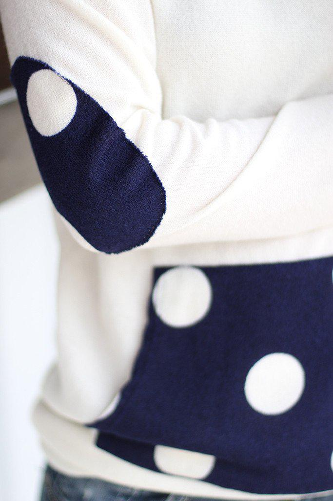 Ivory And Navy Polka Dot Hoodie
