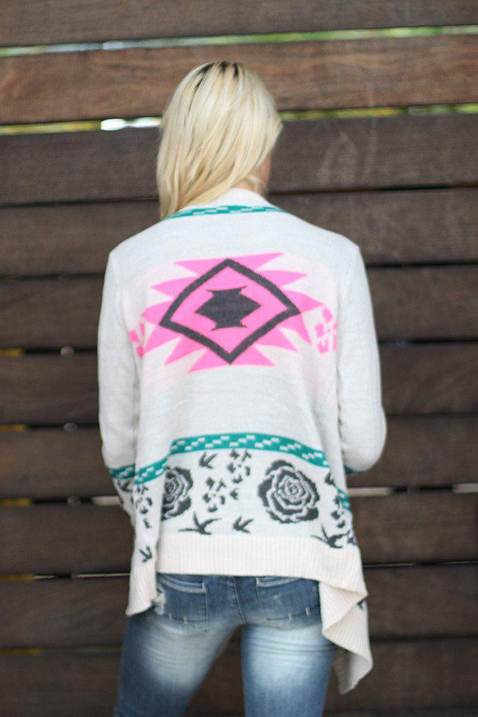 Ivory and Neon Pink Cardigan