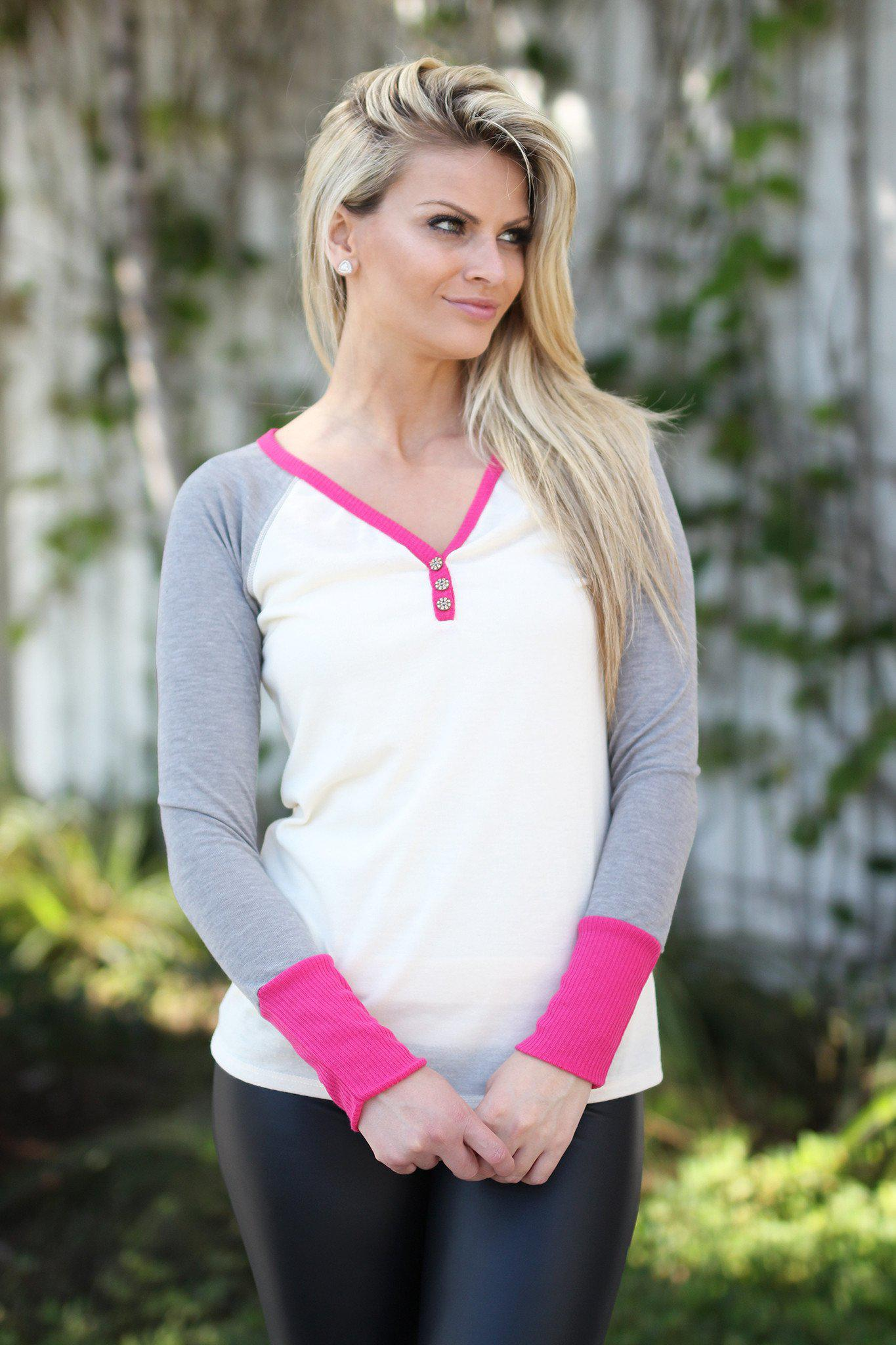 Ivory and Pink Top with Buttons