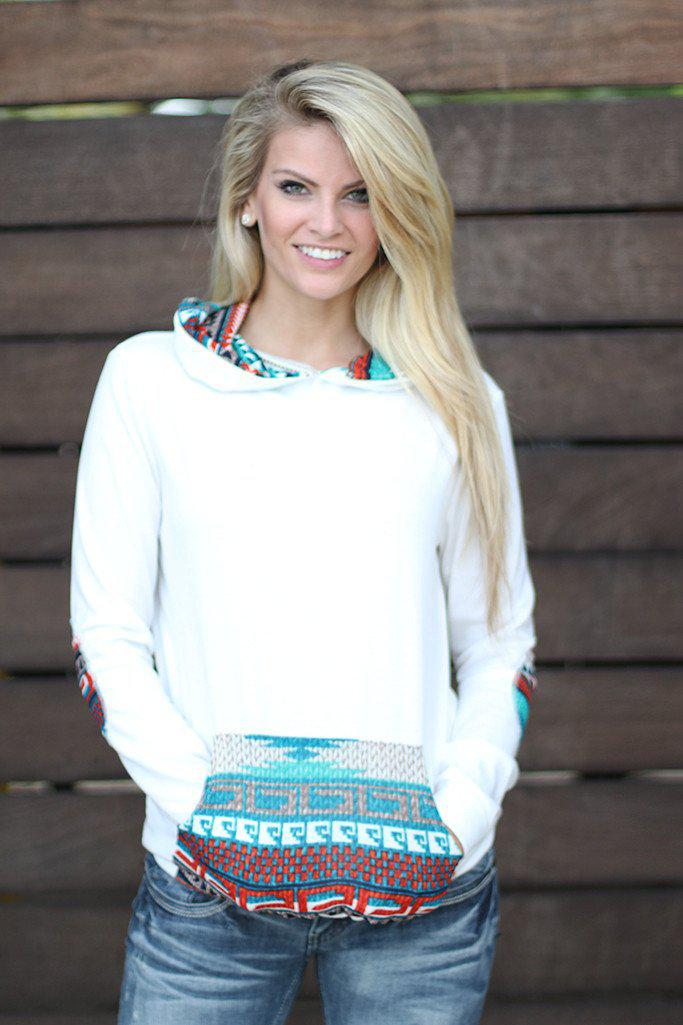 Ivory And Teal Hoodie with Pocket