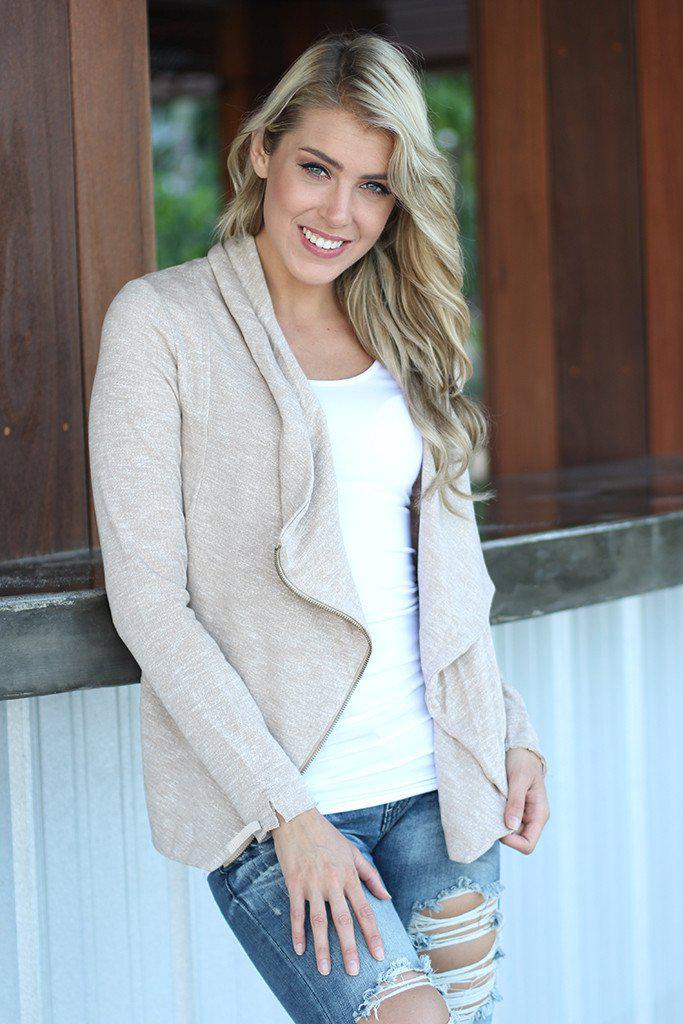 Ivory Asymmetrical Jacket With Zipper