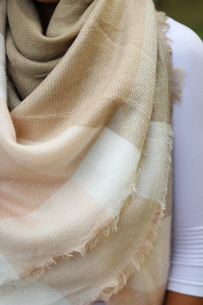 Beige and Light Pink Blanket Scarf