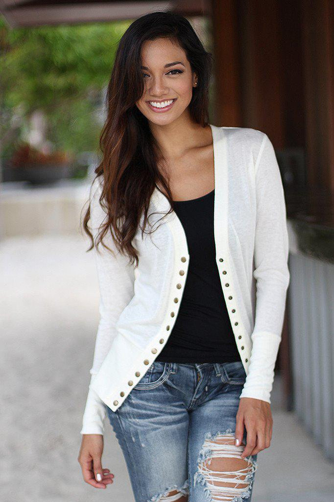 Ivory Button Down Cardigan