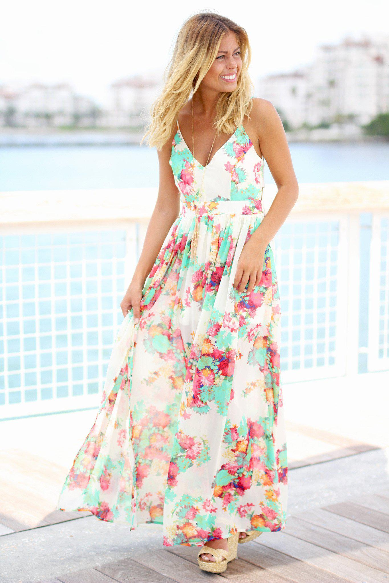 Ivory Floral Maxi Dress with Open Back