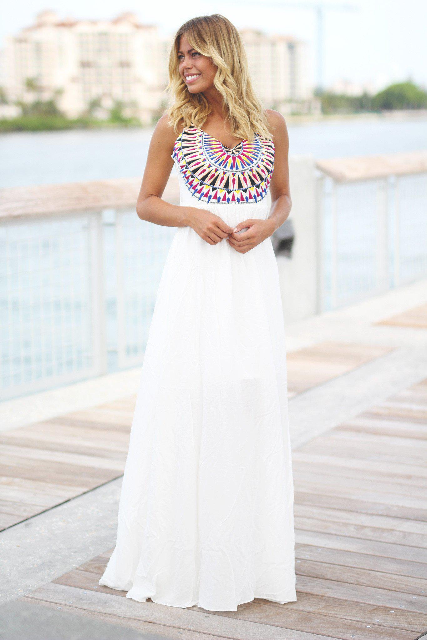 Ivory Maxi Dress with Embroidered Top