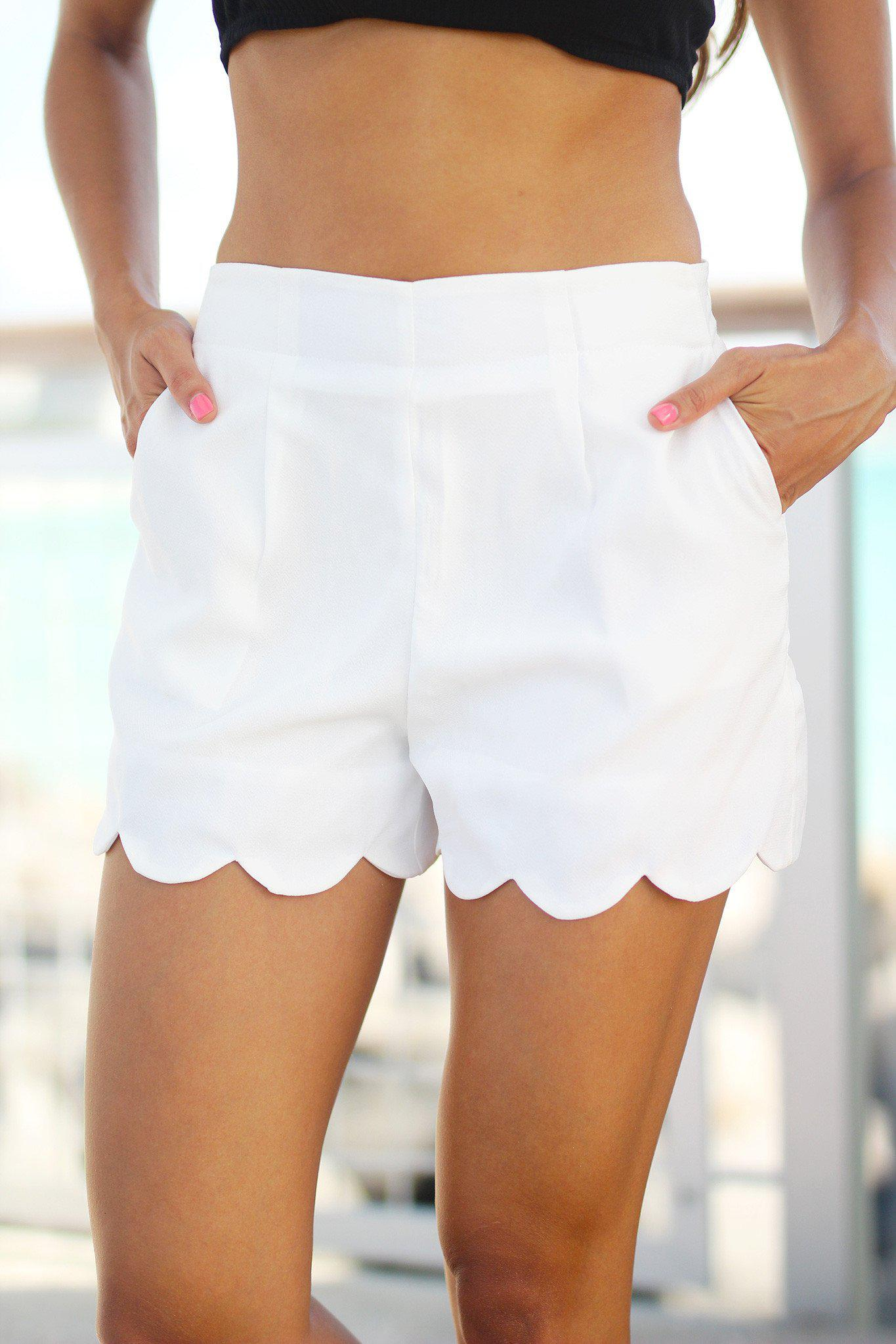 Ivory Scalloped Shorts