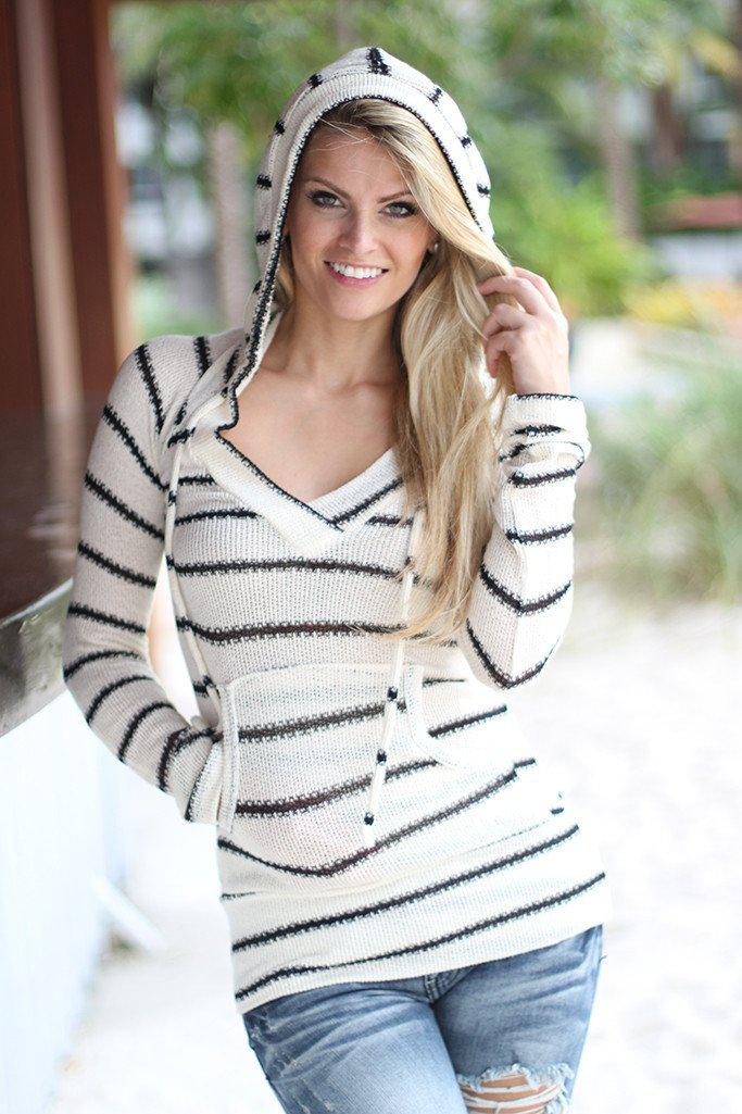 Ivory Striped Hoodie With Pocket