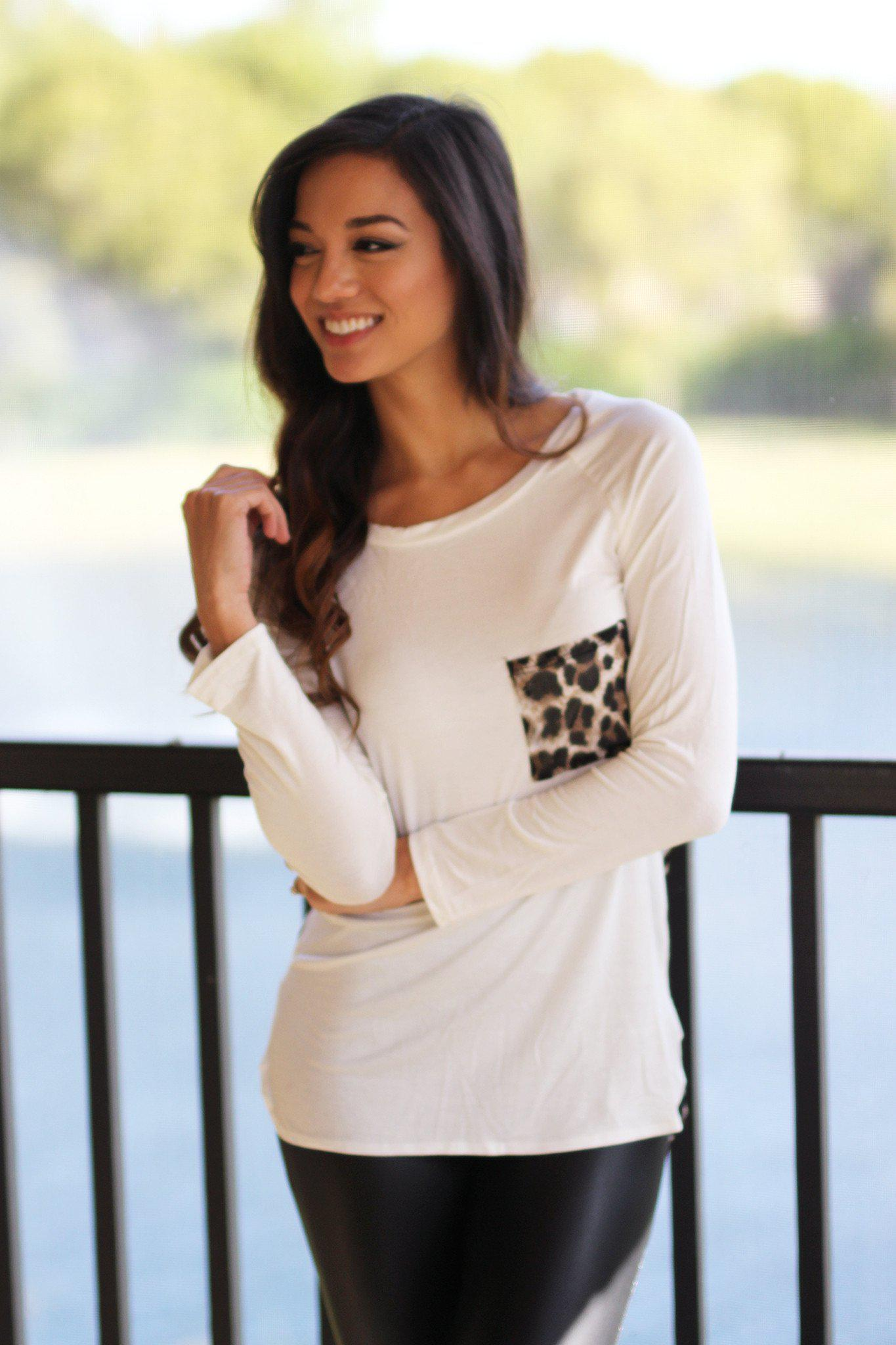 Ivory Top with Leopard Back