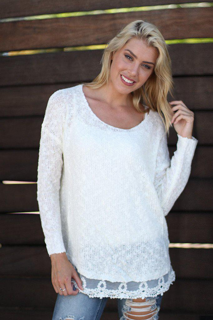 Ivory Knit Sweater With Lace Trim