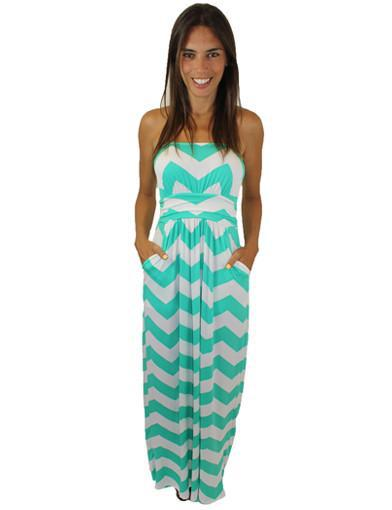 Jade And White Chevron Jersey Maxi Dress - Mica