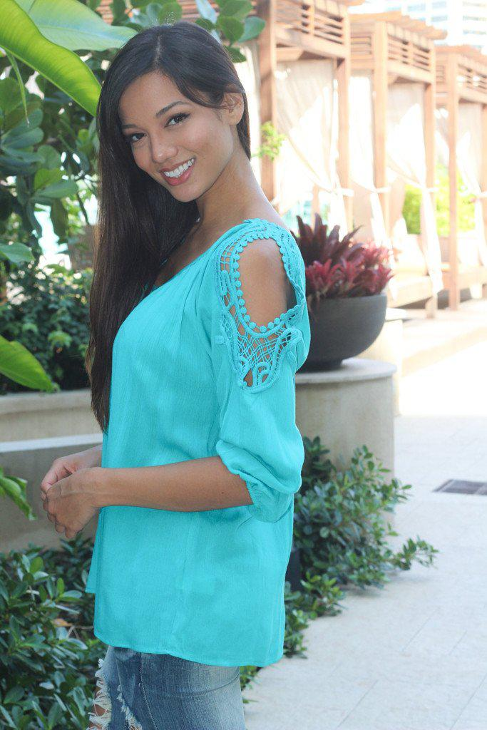 Teal Crochet Open Shoulder Top