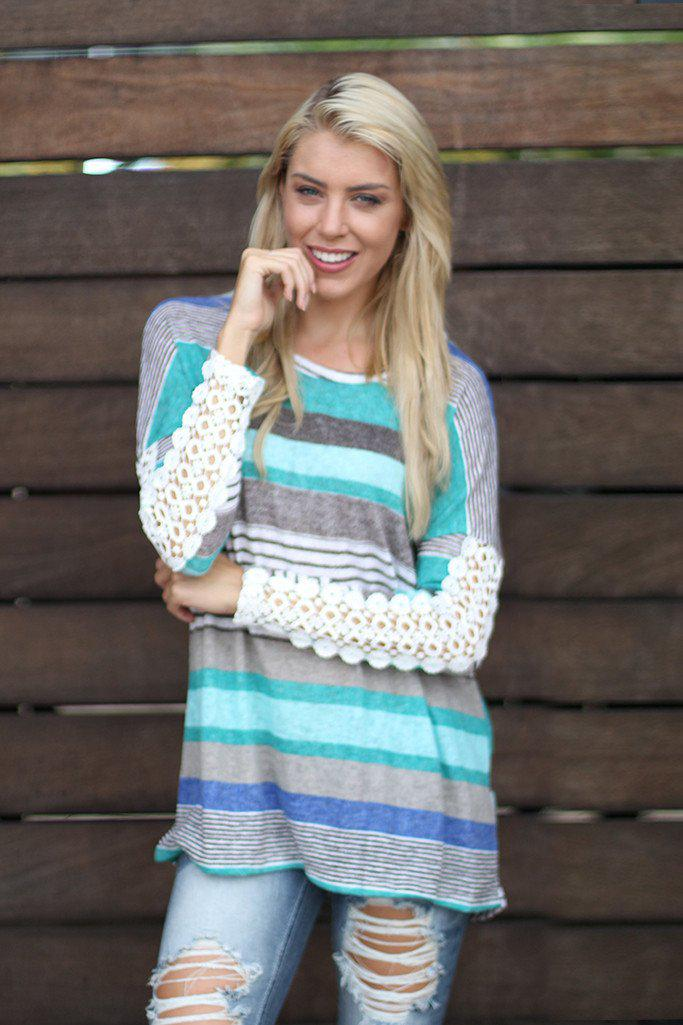 Jade Striped Top With Buttons