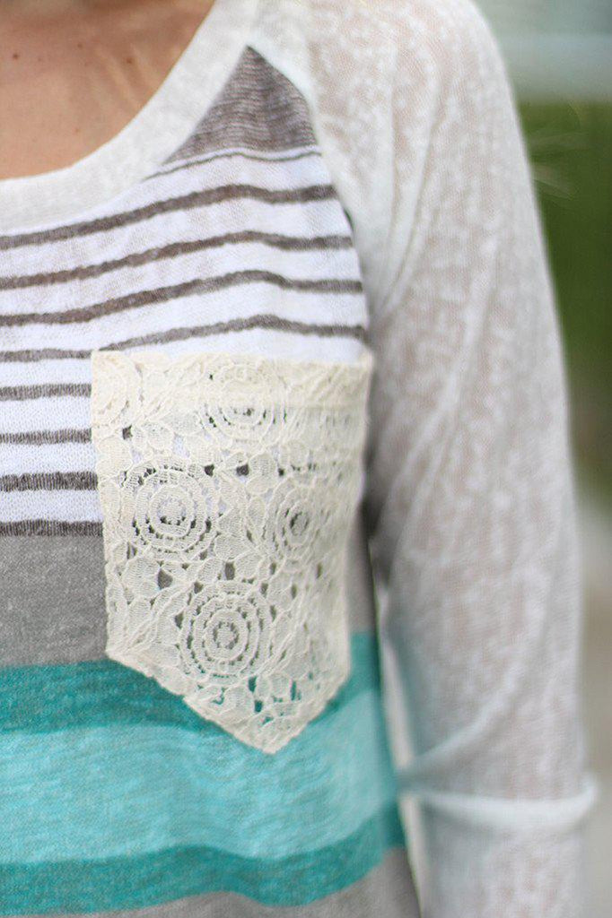 Jade Top with Crochet Pocket