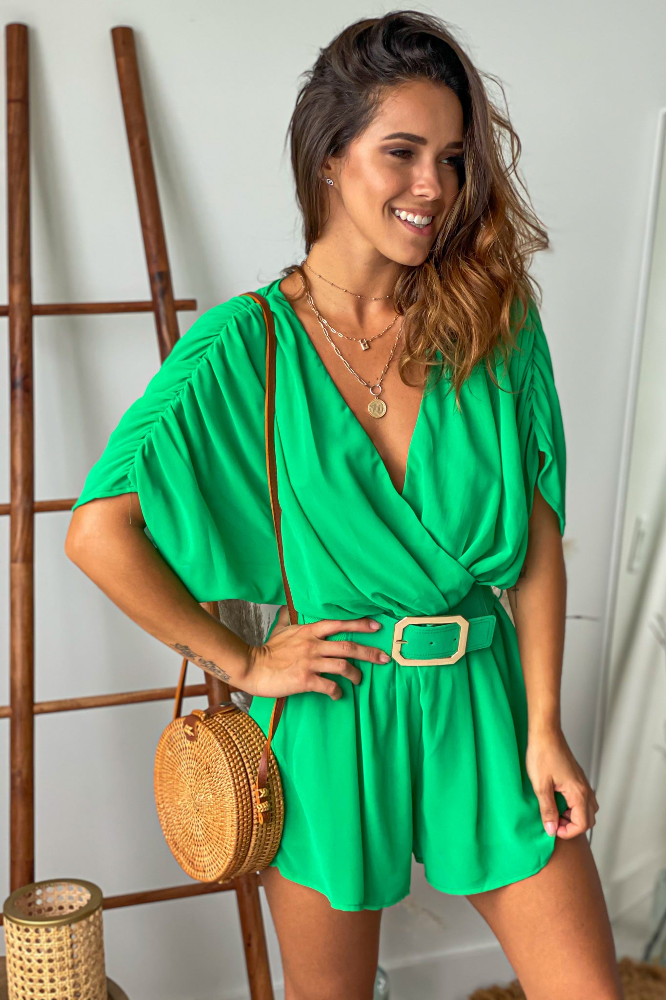 kelly green cute romper