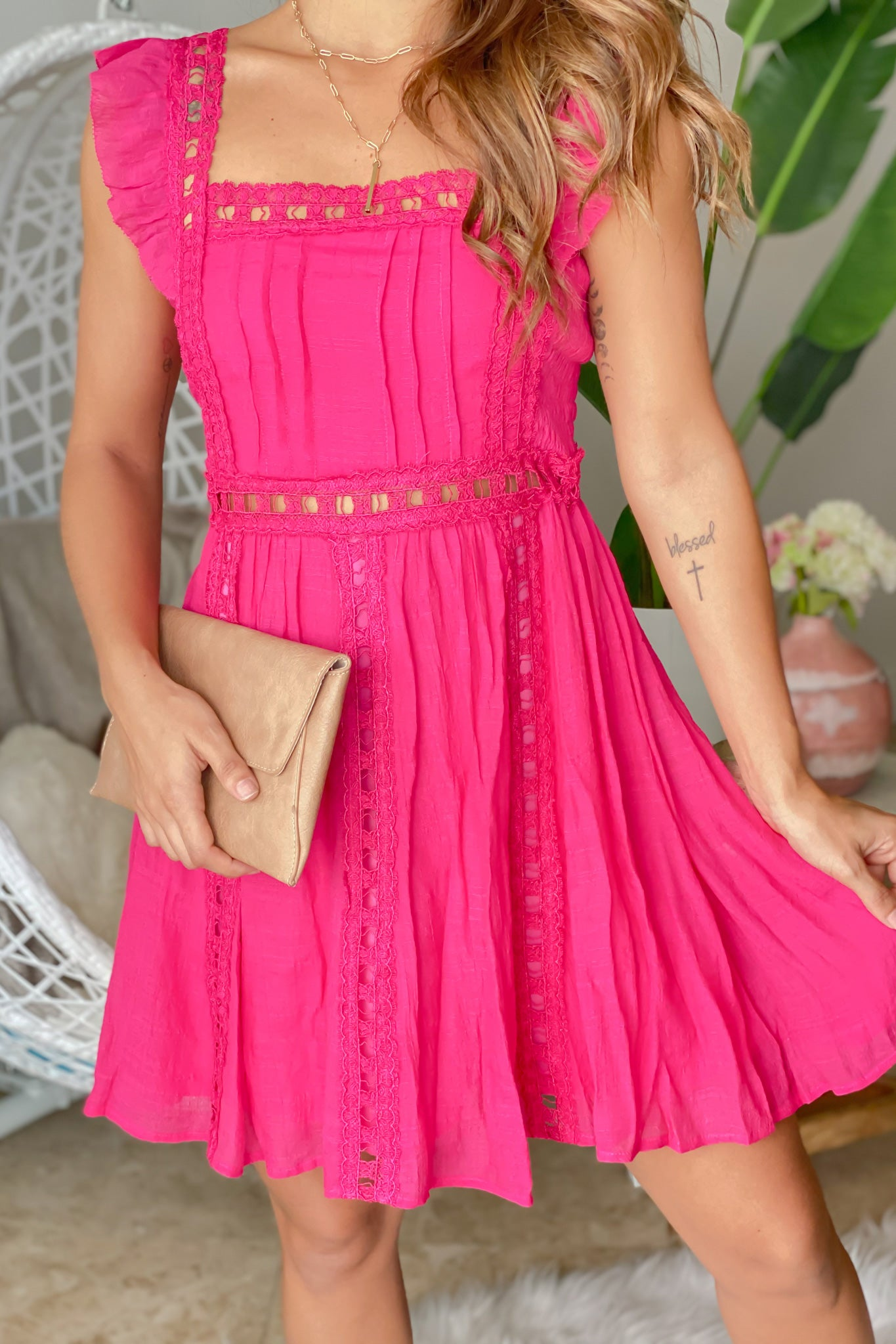 Lifestyle hot pink short dress with lace detail