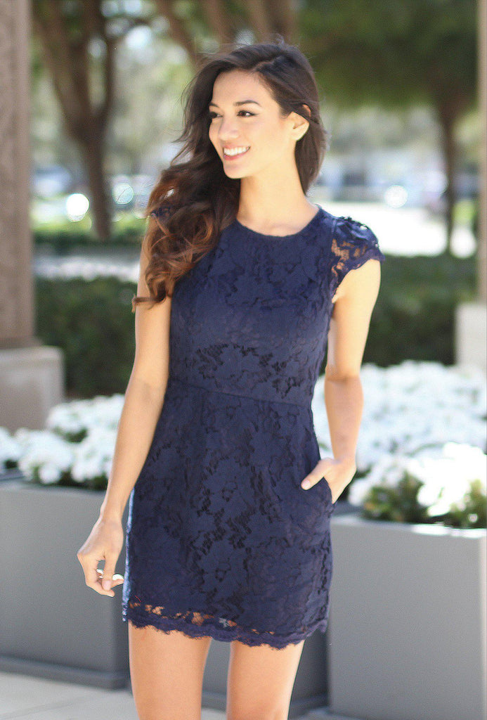 navy lace dress with pockets