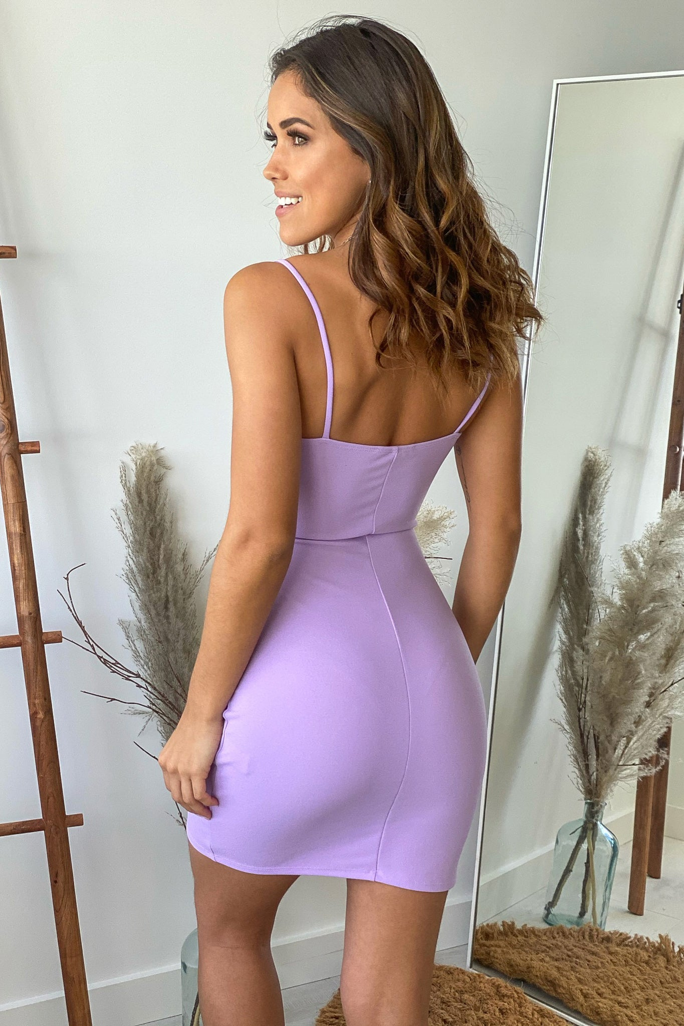 lavender bodycon mini dress