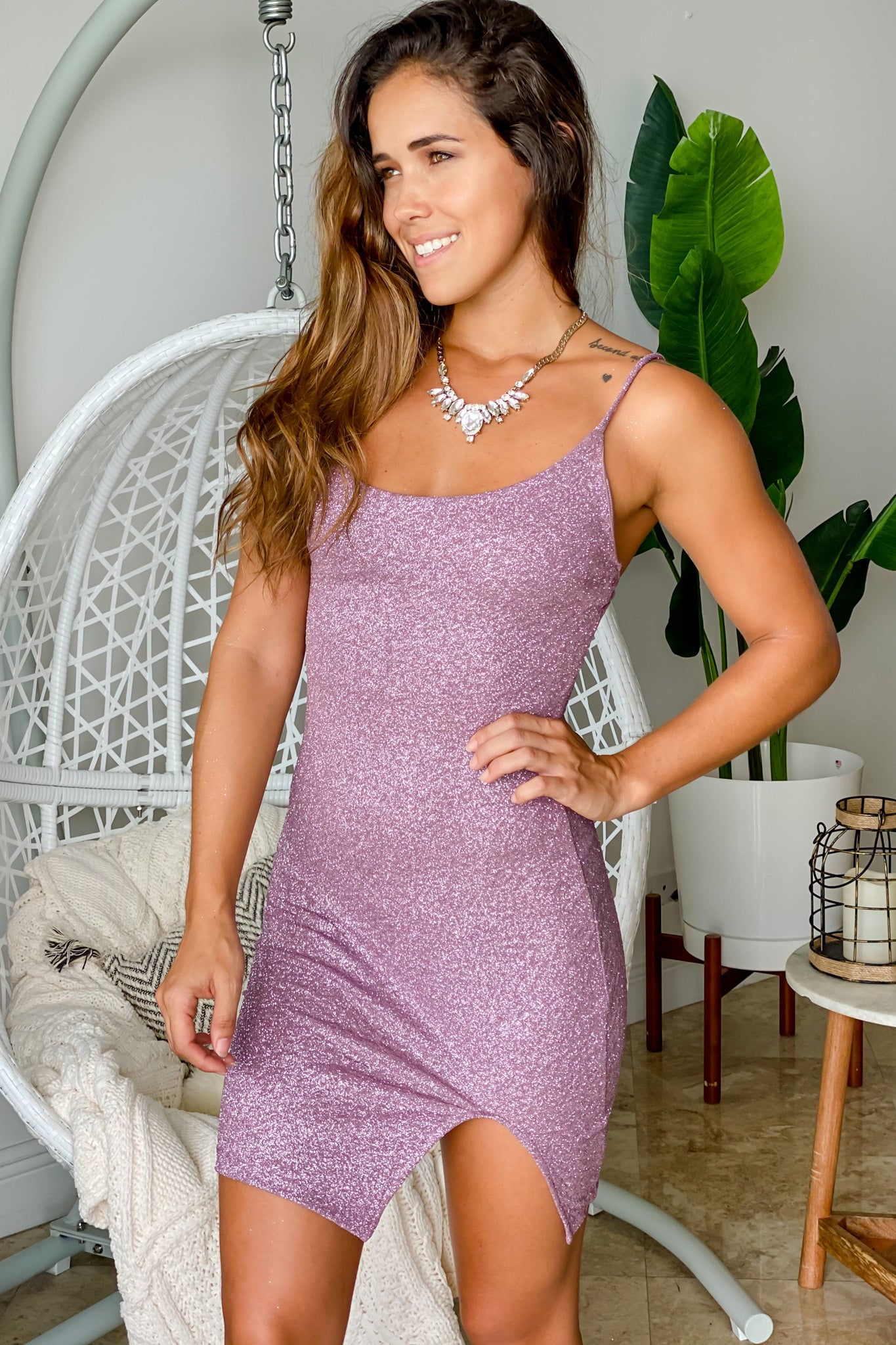 lavender cocktail short dress