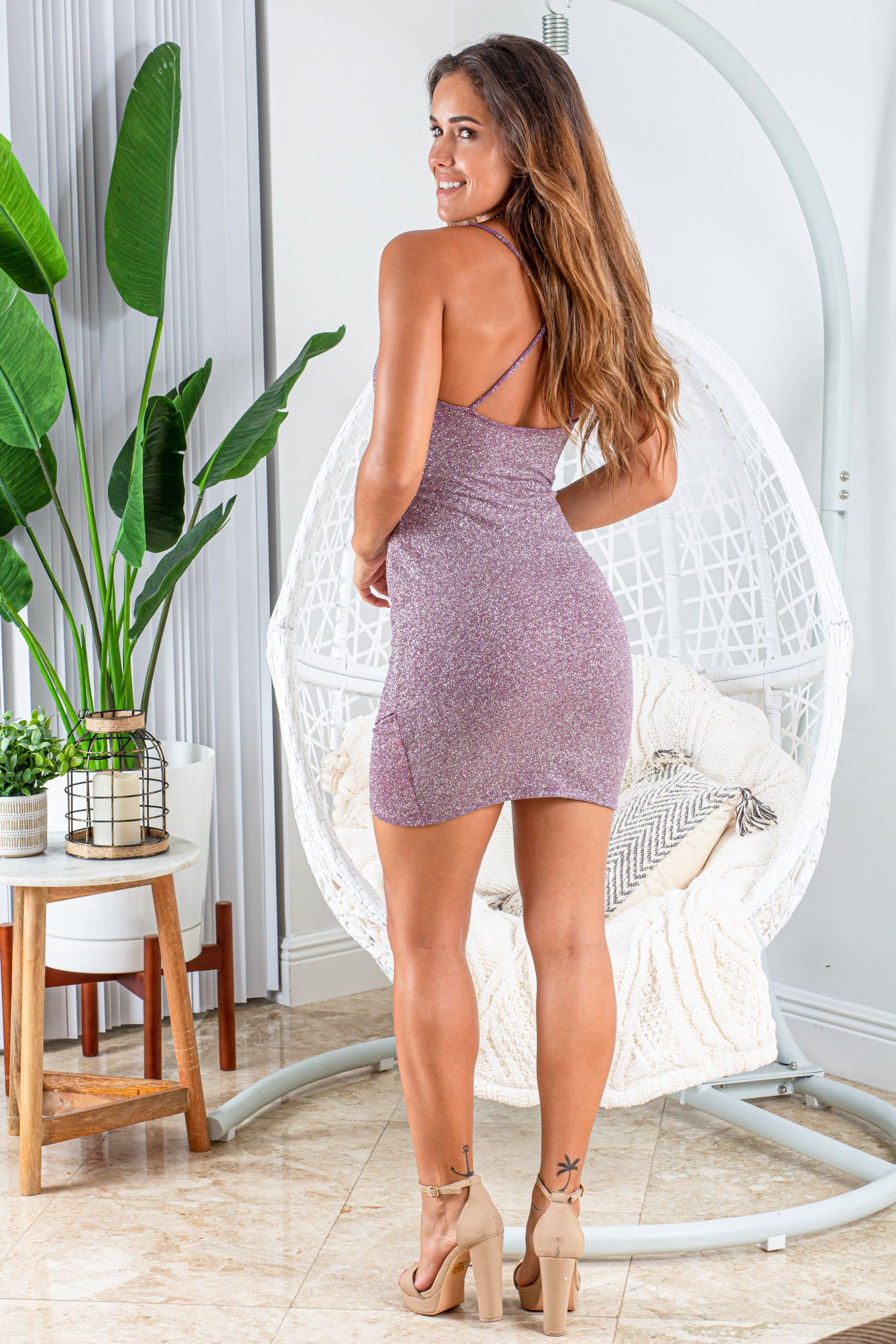 lavender cute short dress