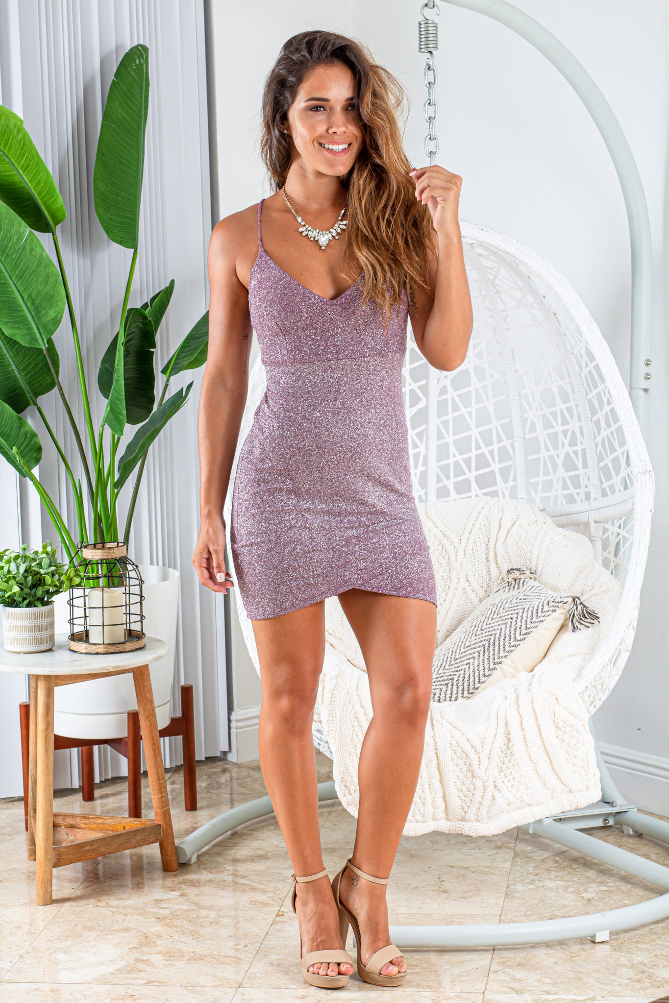 lavender short dress with glitter