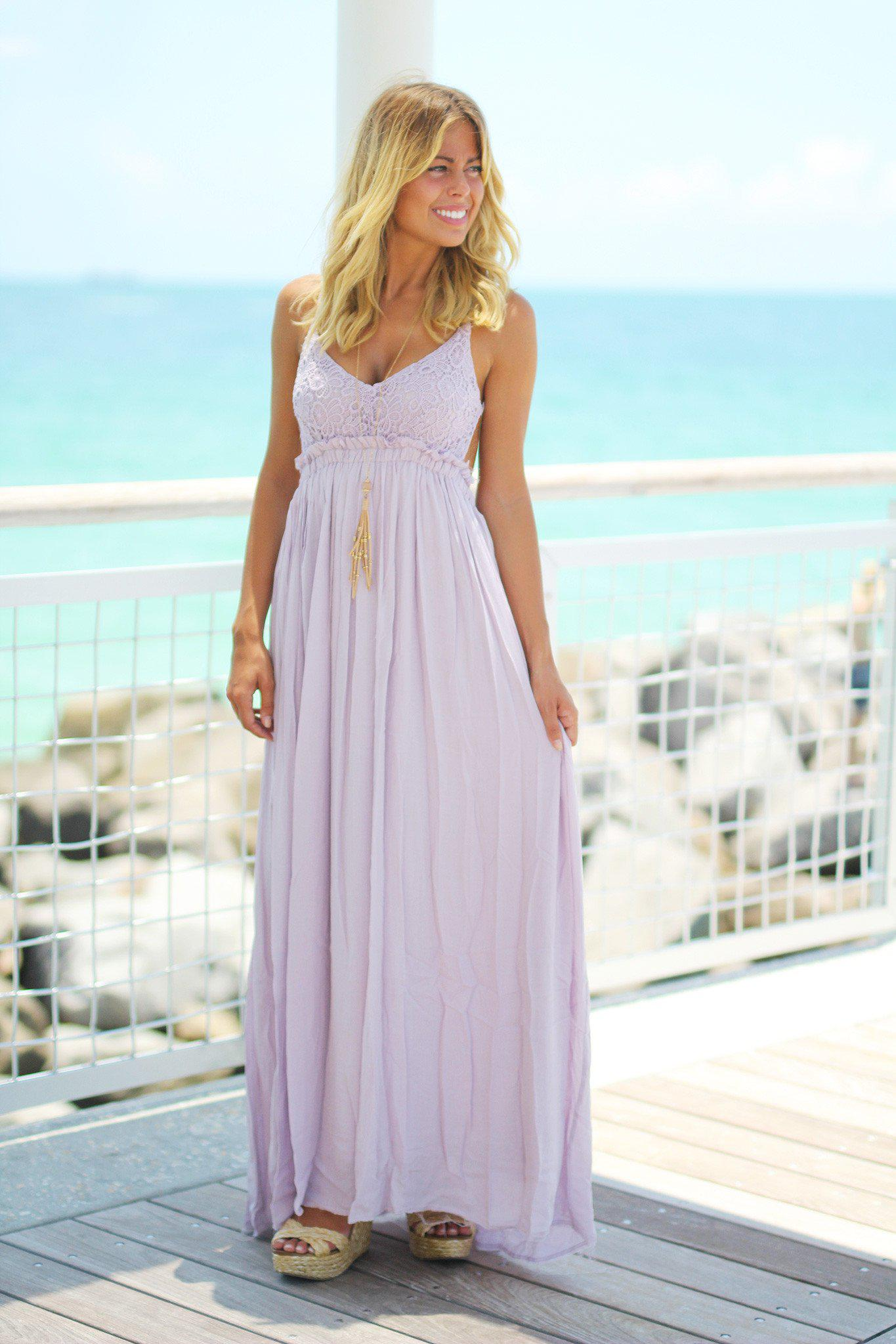 Lavender Lace Maxi Dress with Open Back | Maxi Dresses – Saved by ...