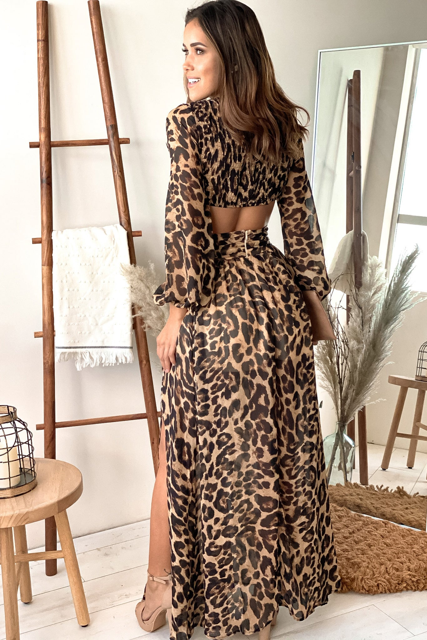 leopard formal maxi dress