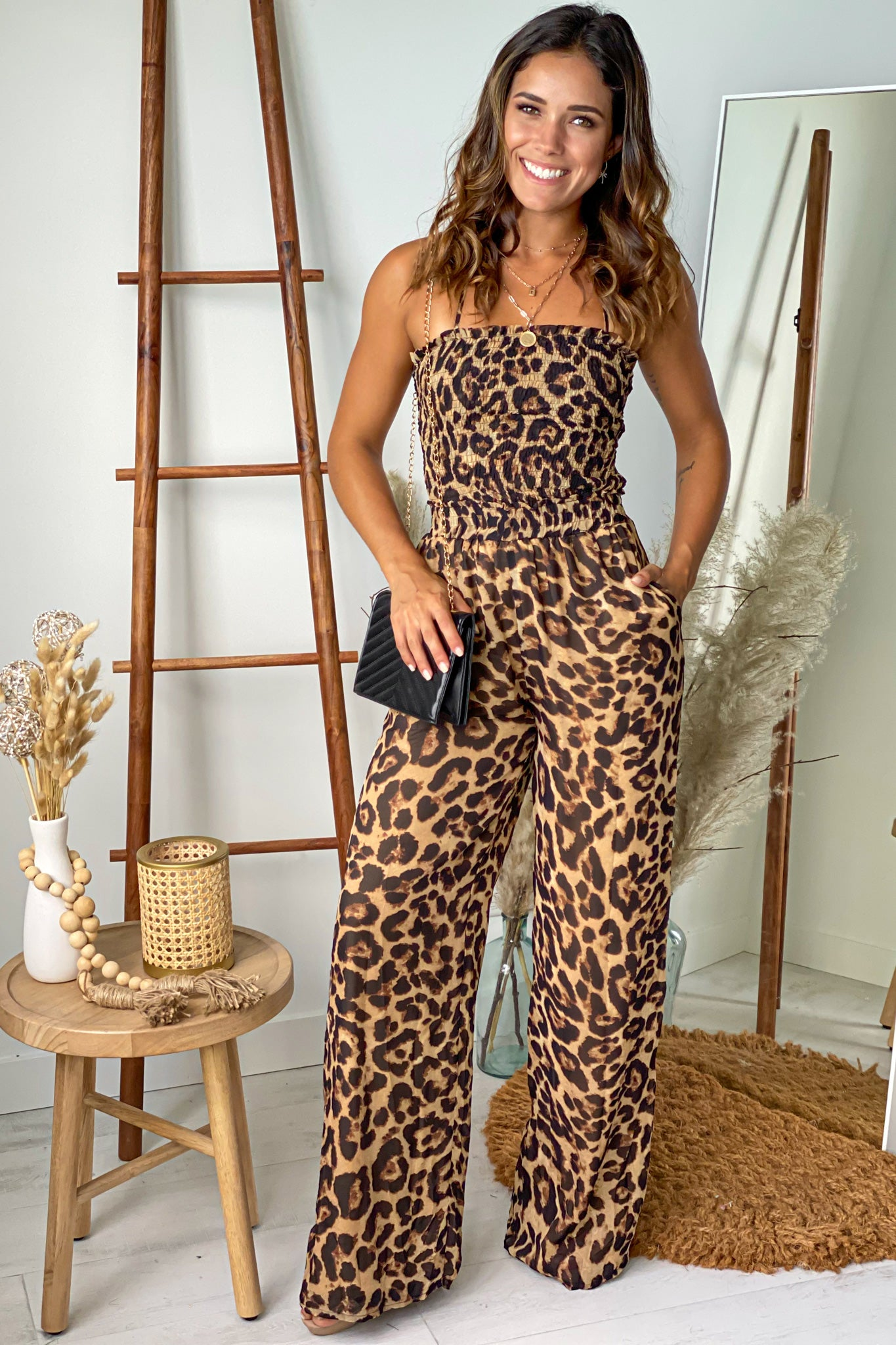 leopard smocked to jumpsuit