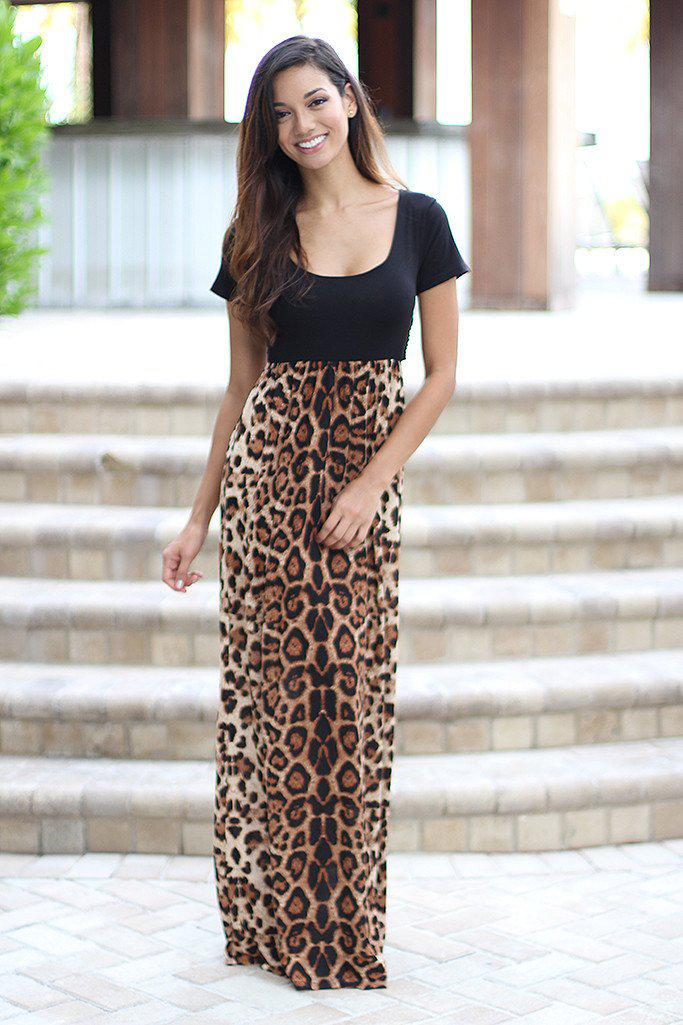 Leopard Maxi Dress With Criss Cross Back