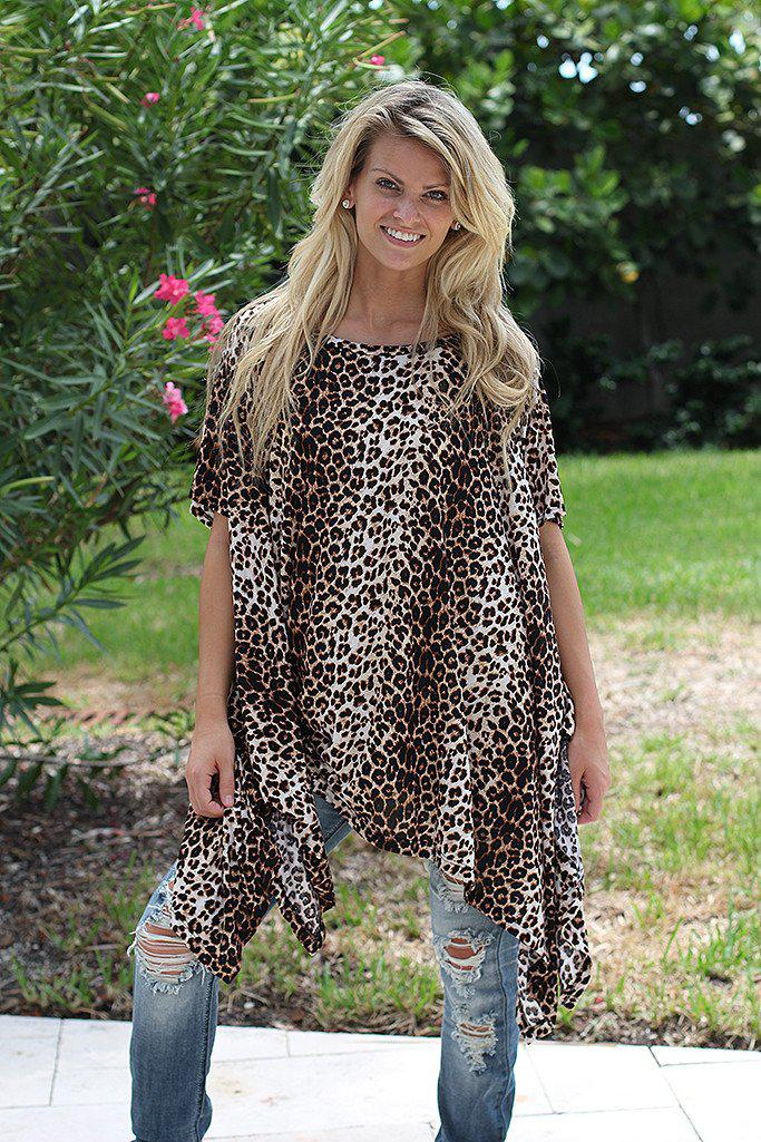 Leopard Poncho Style Tunic