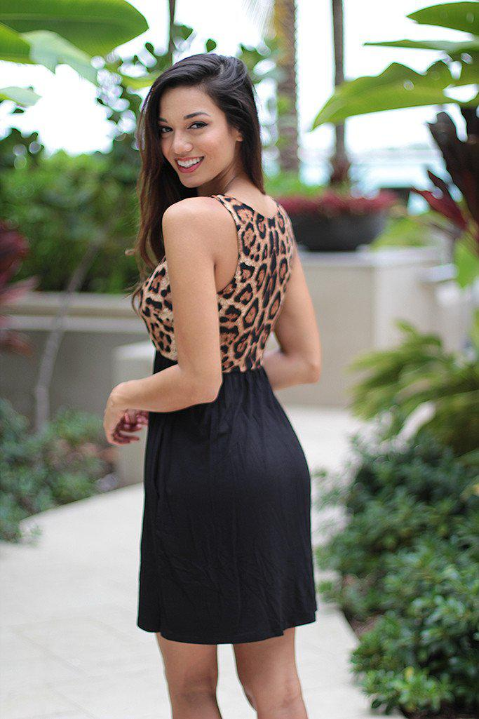 Leopard Short Dress With Pockets