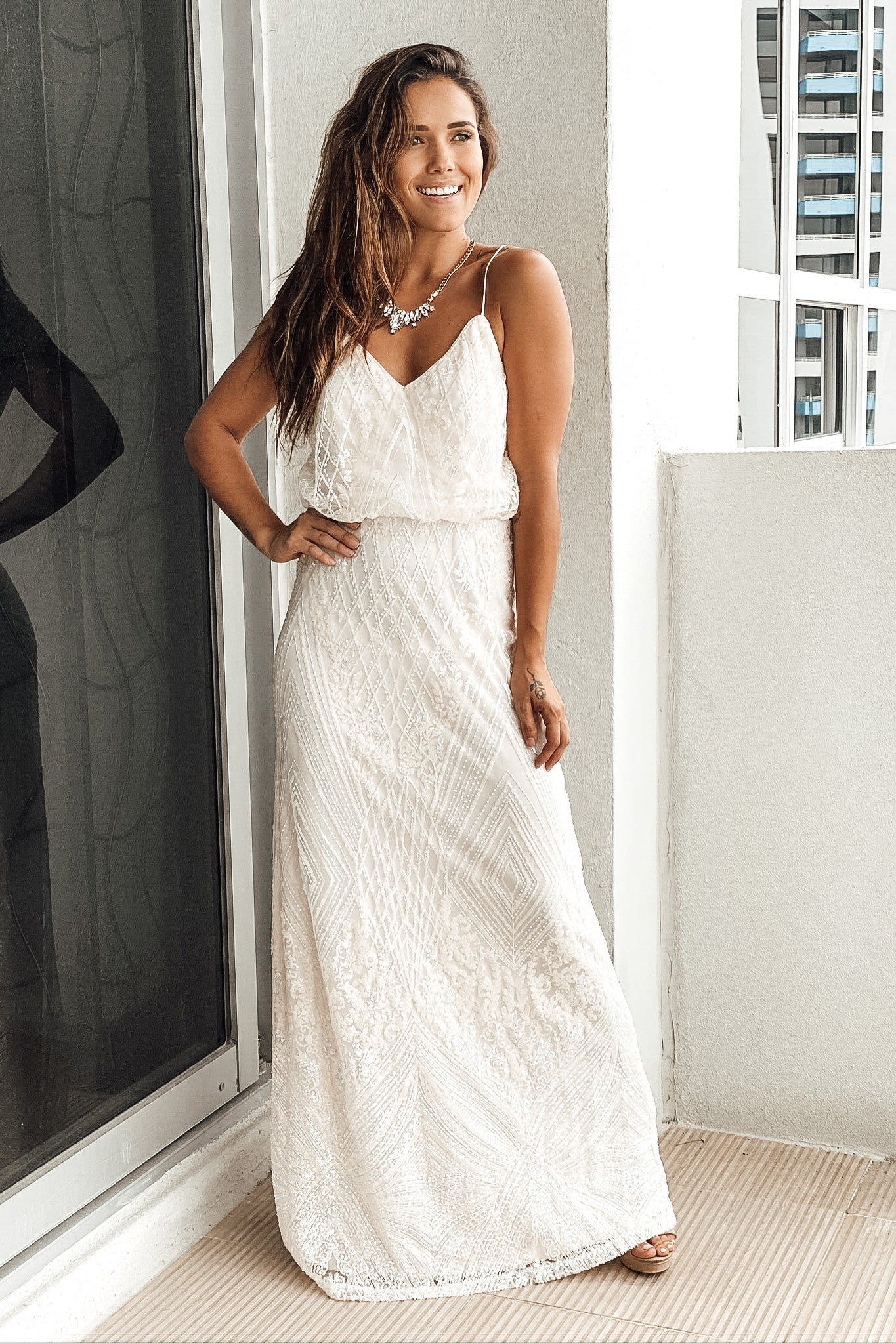 Lifestyle ivory sequin maxi dress