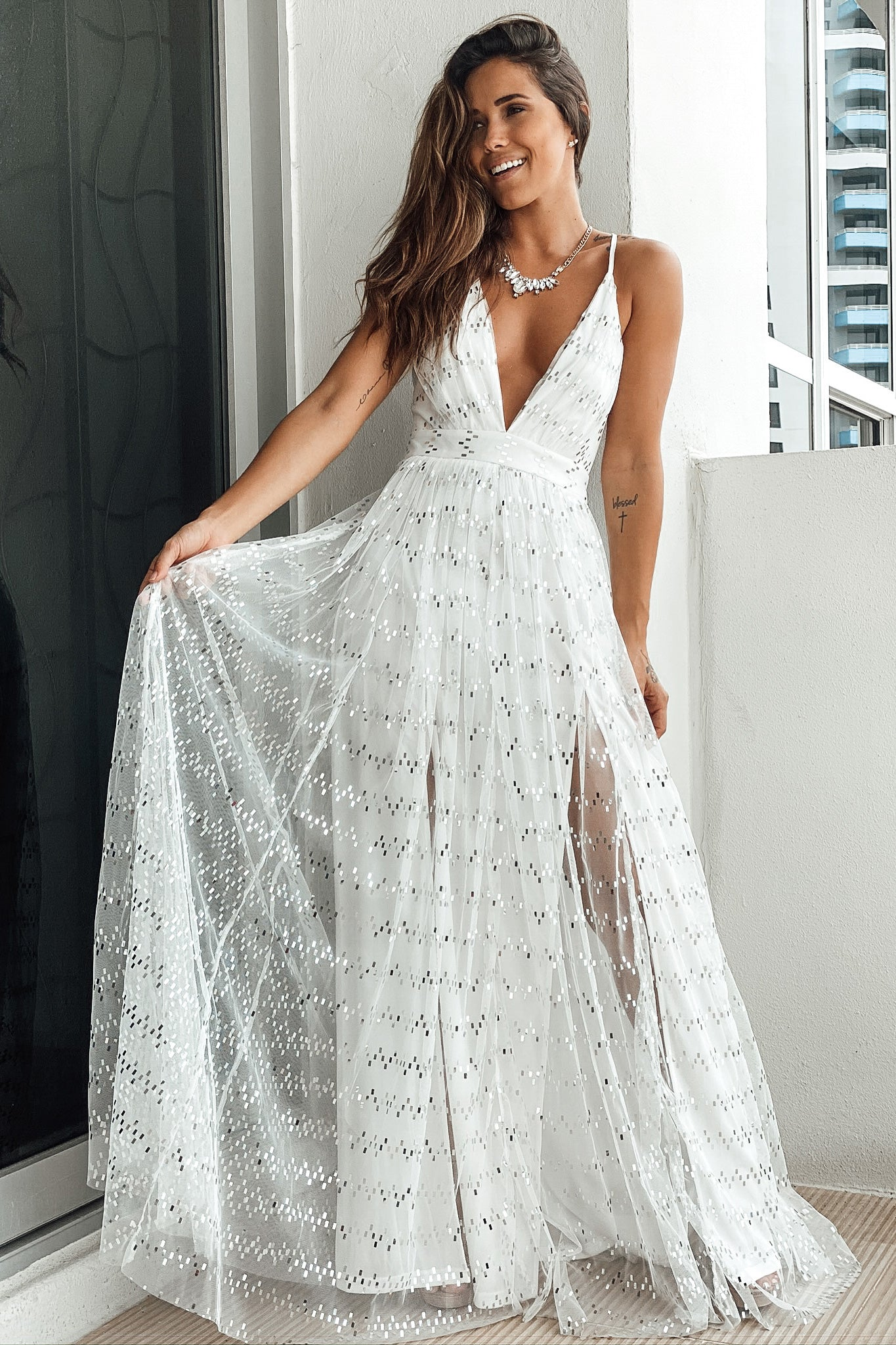 Lifestyle white and silver sequin maxi dress