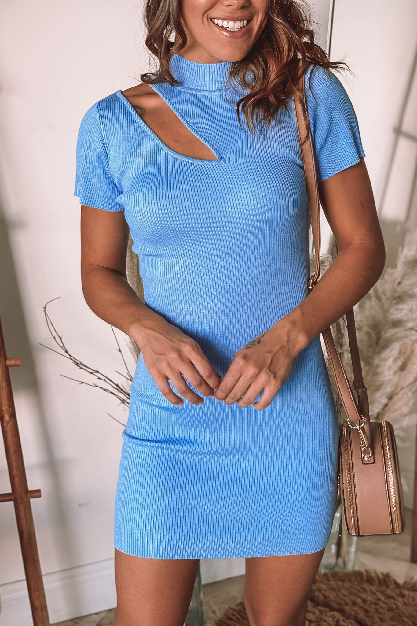 light blue cut out short dress