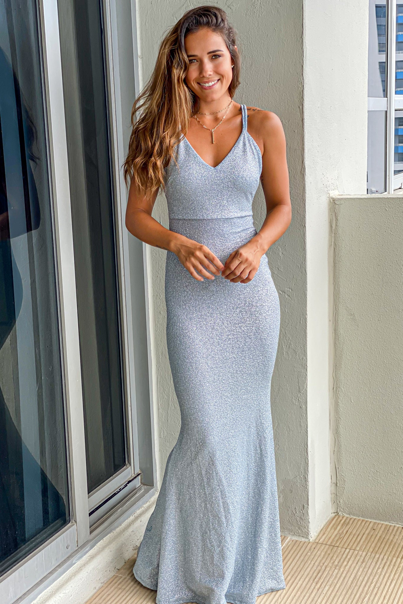light blue glitter maxi dress