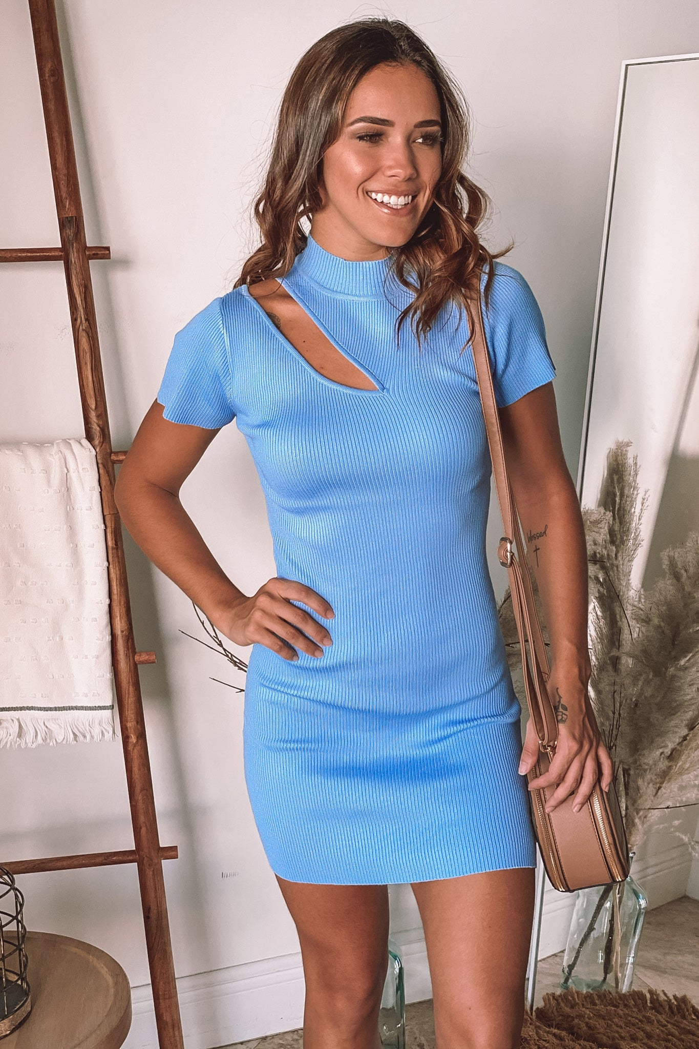 light blue cute short dress