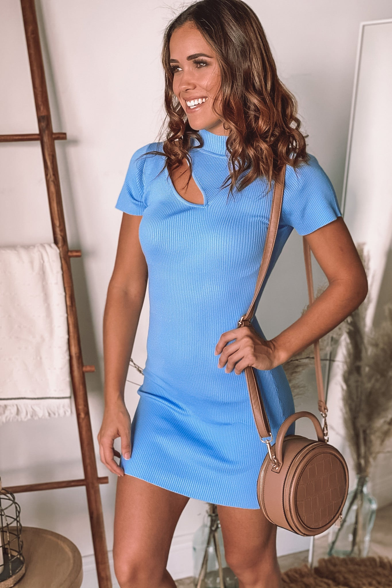 light blue party short dress