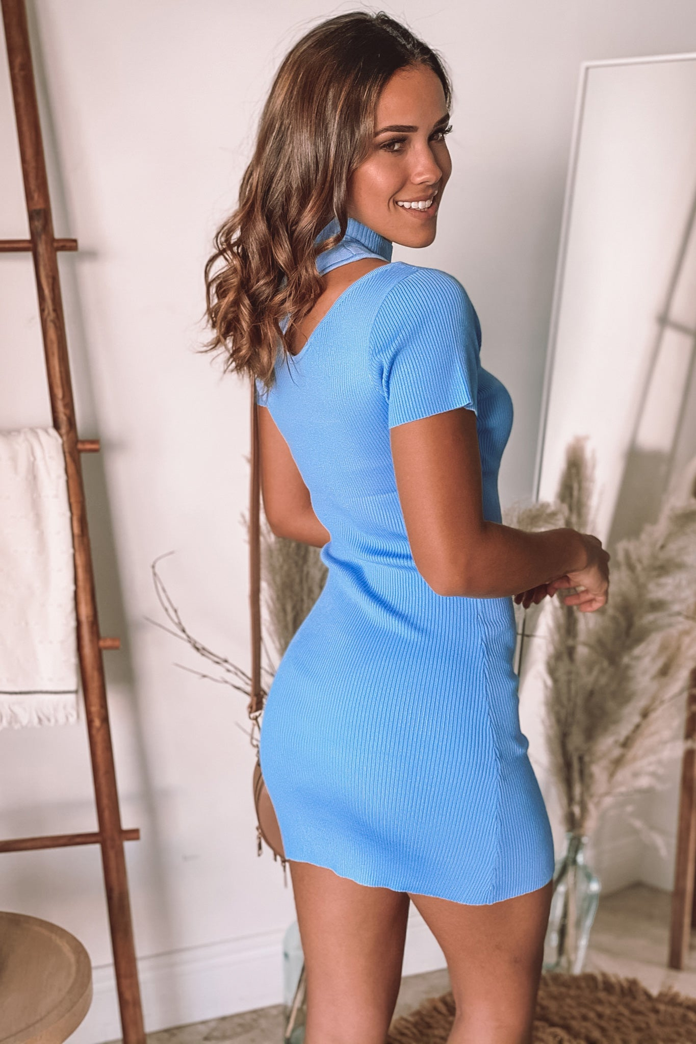 light blue short dress