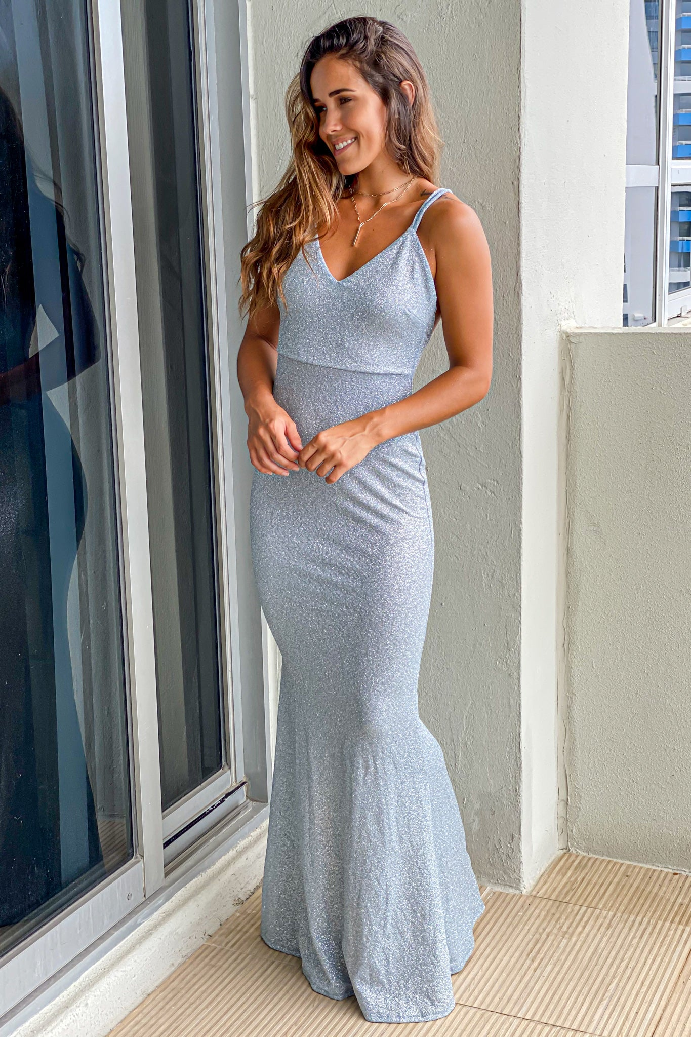 light blue wedding guest maxi dress