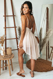 light blush open back romper