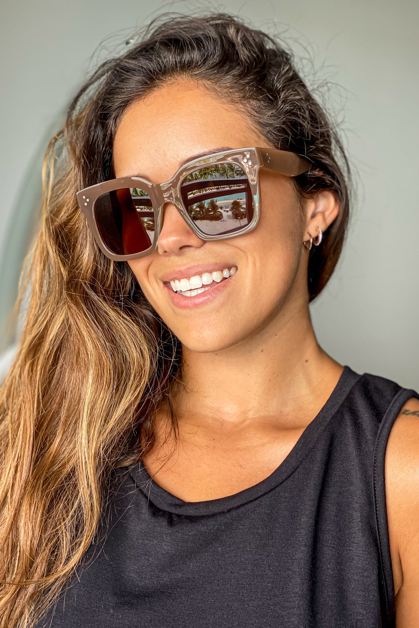 light brown squared sunglasses