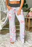 light gray floral cute pants