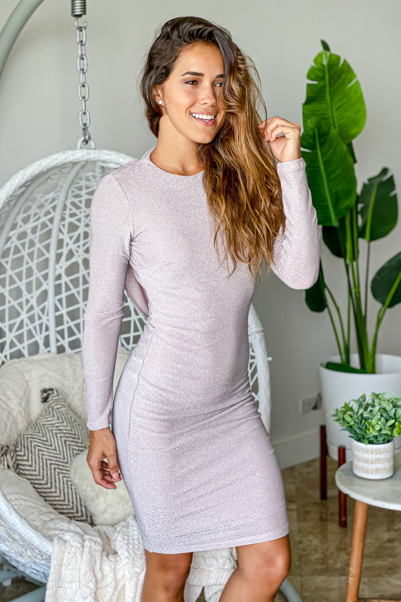 light mauve casual midi dress