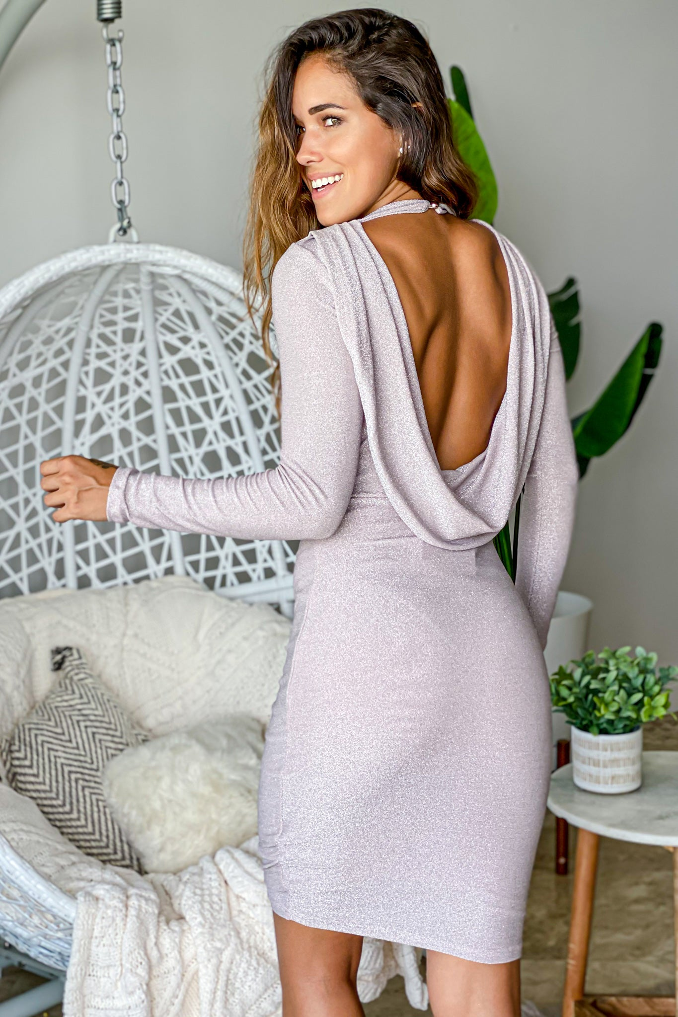light mauve midi dress with draped back