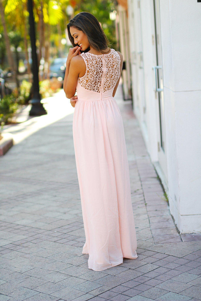light pink special occasion maxi dress