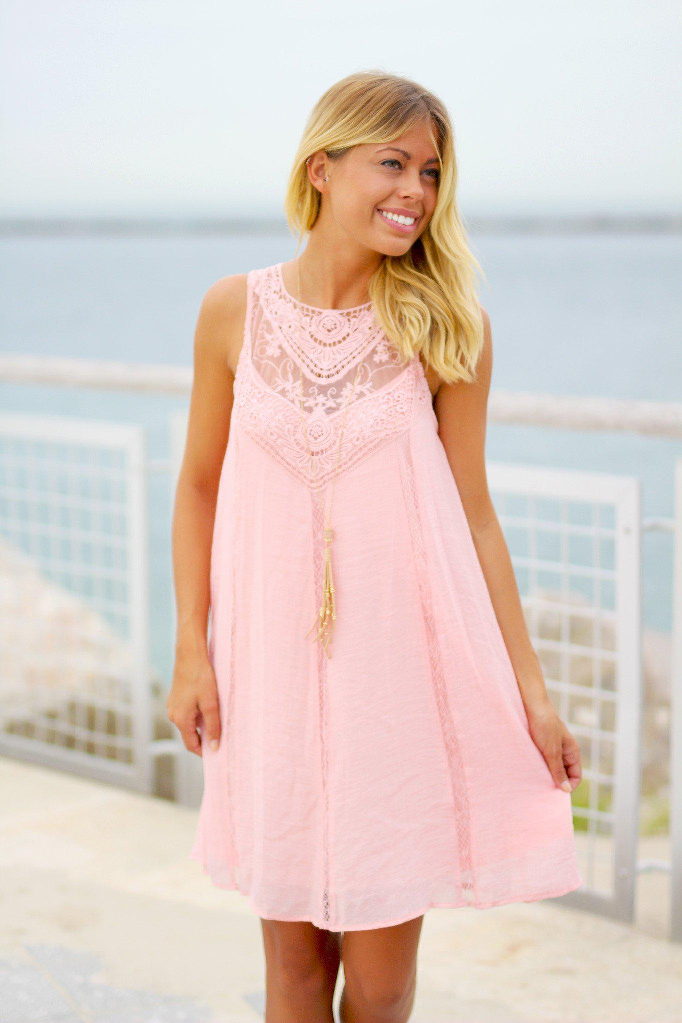 Pink Lace Short Dress