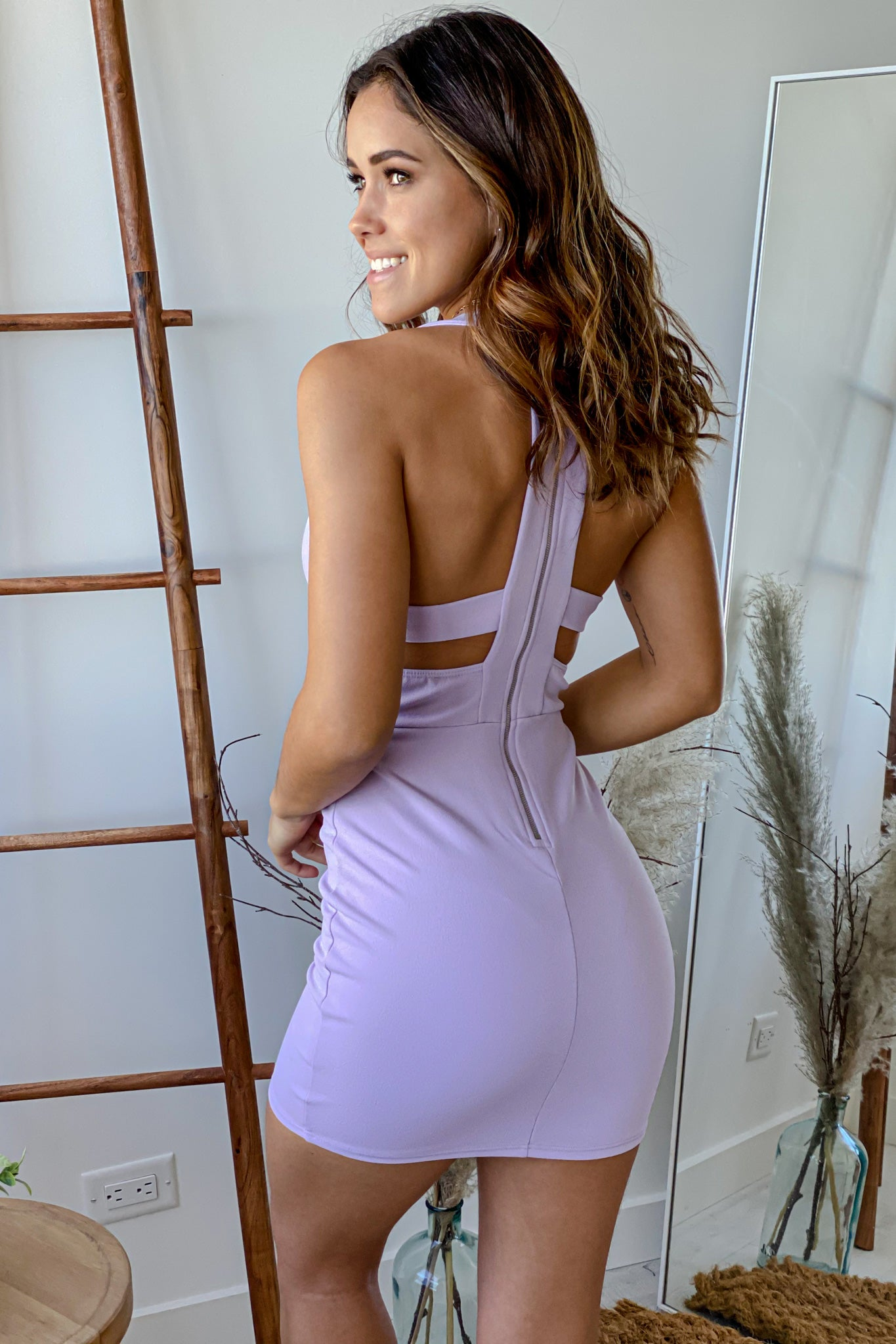 lilac cute short dress