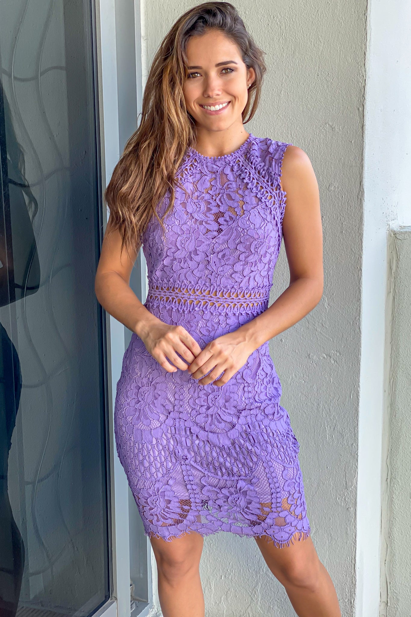 lilac embroidered short dress
