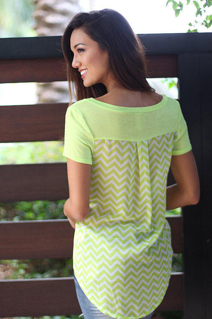 Lime Chevron Top With Pocket